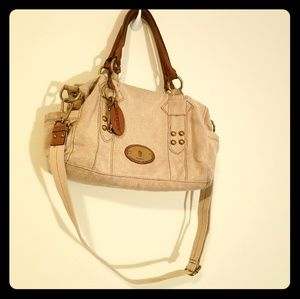 Fossil Canvas and leather shoulder/ crossbody bag